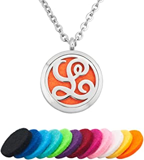 Third Time Charm L Letter Monogram Initial Necklace Aromatherapy Essential Oil Diffuser Necklaces Pendant,12 Refill Pads