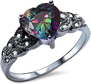 Solitaire Accent Heart Promise Ring Rainbow Cubic Zirconia Round CZ Black Tone Plated 925 Sterling Silver