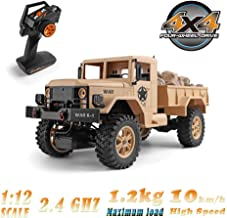 Bieay RC Military Truck, 1/12 2.4G 4WD Remote Control Off-Road Army Car Vehicle, High Speed Rock Crawler for Adults and Kids (Yellow)