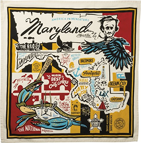 Primitives by Kathy 33747 Wanderlust Dish Towel, 28 x 28, Super Maryland