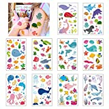 Tatuajes Temporales para Niños Niñas de Oceano, 10 Hojas Infantiles Tatuajes Temporales Regalo Perfecto para Cumpleaños de Niños Infantiles Fiesta (Oceano)