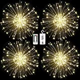 Haliluya 4 Pack 120 LED Copper Wire Firework Lights,Battery Operated Starburst Light with Remote,8 Modes String Fairy Lights Waterproof,Decorative Hanging Lights for Christmas, Home, Indoor Outdoor