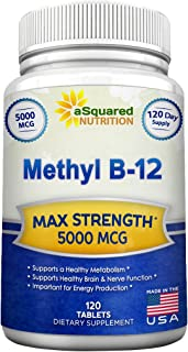 Vitamin B12 - 5000 MCG Supplement with Methylcobalamin (Methyl B-12) - Max Strength Vitamin B 12 Support to Help Boost Nat...