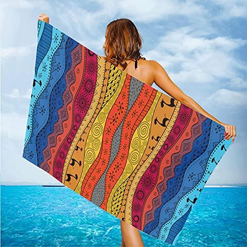 Hawaiianischer Bohemia-Stil, groß, übergroß, modisch, Strand, Camping, Handtücher, schnelltrocknend, super saugfähig, weiches Handtuch, 84 x 132 cm