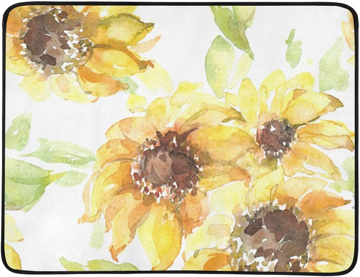 Watercolor Sunflower Bouquet Pattern Portable and Foldable Blanket Mat 60x78 Inch Handy Mat for Camping Picnic Beach Indoor Outdoor Travel