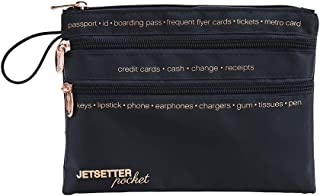 Miamica Women's Travel Pouch, 3-Zip, Packing Organizer, Jetsetter Pocket, Navy Satin, One Size
