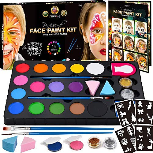 Zenovika Face Paint Kit for Kids - 60 Jumbo Stencils, 15 Large Water Based Paints, 2 Glitters - Halloween Makeup Kit, Professional Face Paint Palette, Safe for Sensitive Skin, Face Painting Book