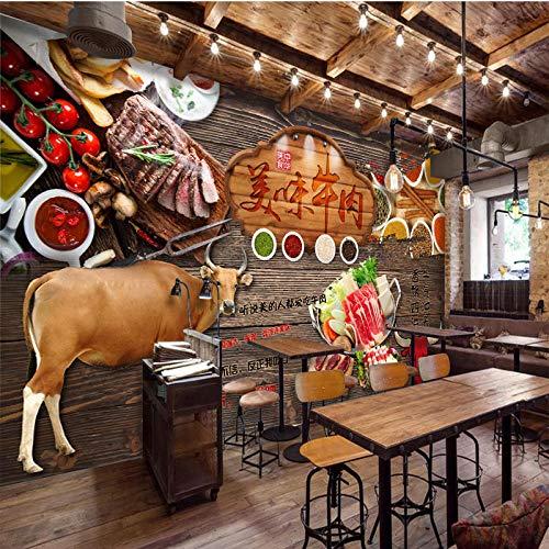 Retro Bbq Shop Rindfleischsuppe Rindfleisch Nudel Restaurant Hintergrund Tapete Tapete Hot Pot Restaurant 3D Benutzerdefinierte Wandbild-430 * 300Cm