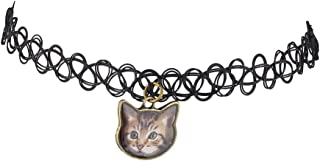 Lux Accessories Black Tattoo Graphic Cat Kitten Meow Choker Necklace