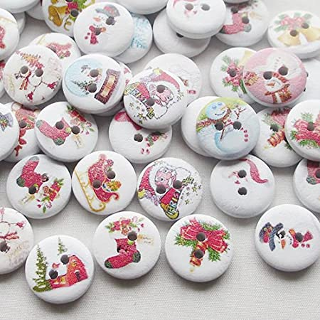 5//8 Inch PEPPERLONELY Brand 100PC Christmas 2 Hole Painted Scrapbooking Sewing Wood Buttons 15mm