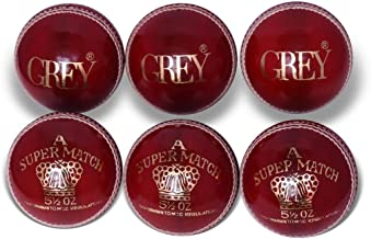 Grey SUPER TEST Chrome Leather With 5//5 Cork 6 Pack Cricket Ball