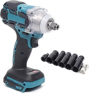 1/2 tum sladdlös slagnyckel, 18 V vridmoment 520 Nm spärr skruvdragare kompatibel med LED-lampa batteri slaggskruvmejsel s...