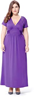 Summer Women's Dress Large Size V-Neck Waist Short-Sleeved Knit Dress Casual Home Party Evening Dress (Color : Purple, Size : XXXXXL)
