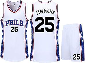 CNMD Jersey de Baloncesto, Phila # 25 Simmons, Ropa Deportiva para fanáticos Blancos, Estiramiento/Transpirable, Limpieza repetida-L