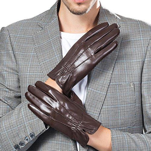 CASF Men's Driving Winter Genuine Lambskin Leather Gloves For Men Black M