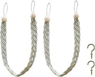 Home Queen Hand Braided Curtain Tie Back, Buckle Holdback Drapery Curtain Tiebacks, 2 Rope Belt Curtain Tie with 2 Metal Hooks, Beige