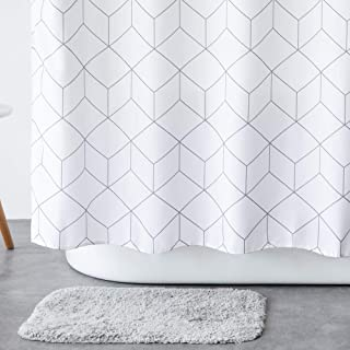 Aimjerry White Fabirc Shower Curtain for Bathroom,Waterproof 65Hx72L inc