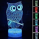 Owl Toys Visual 3D lamp Illusion Night Light Festival Birthday Valentines Day Children