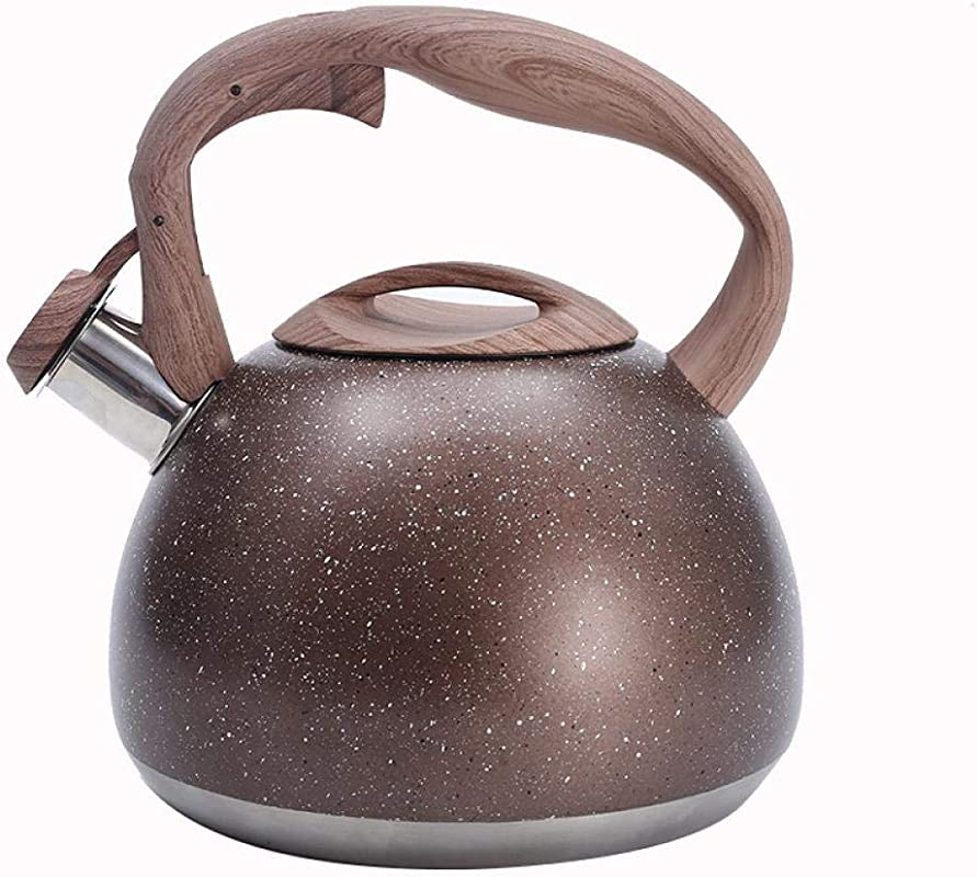 HOUSIYU Whistling Teapot Stainless Steel Kettle Retro Wood Grain Teapot Anti Scalding Handle For All Stoves 3L