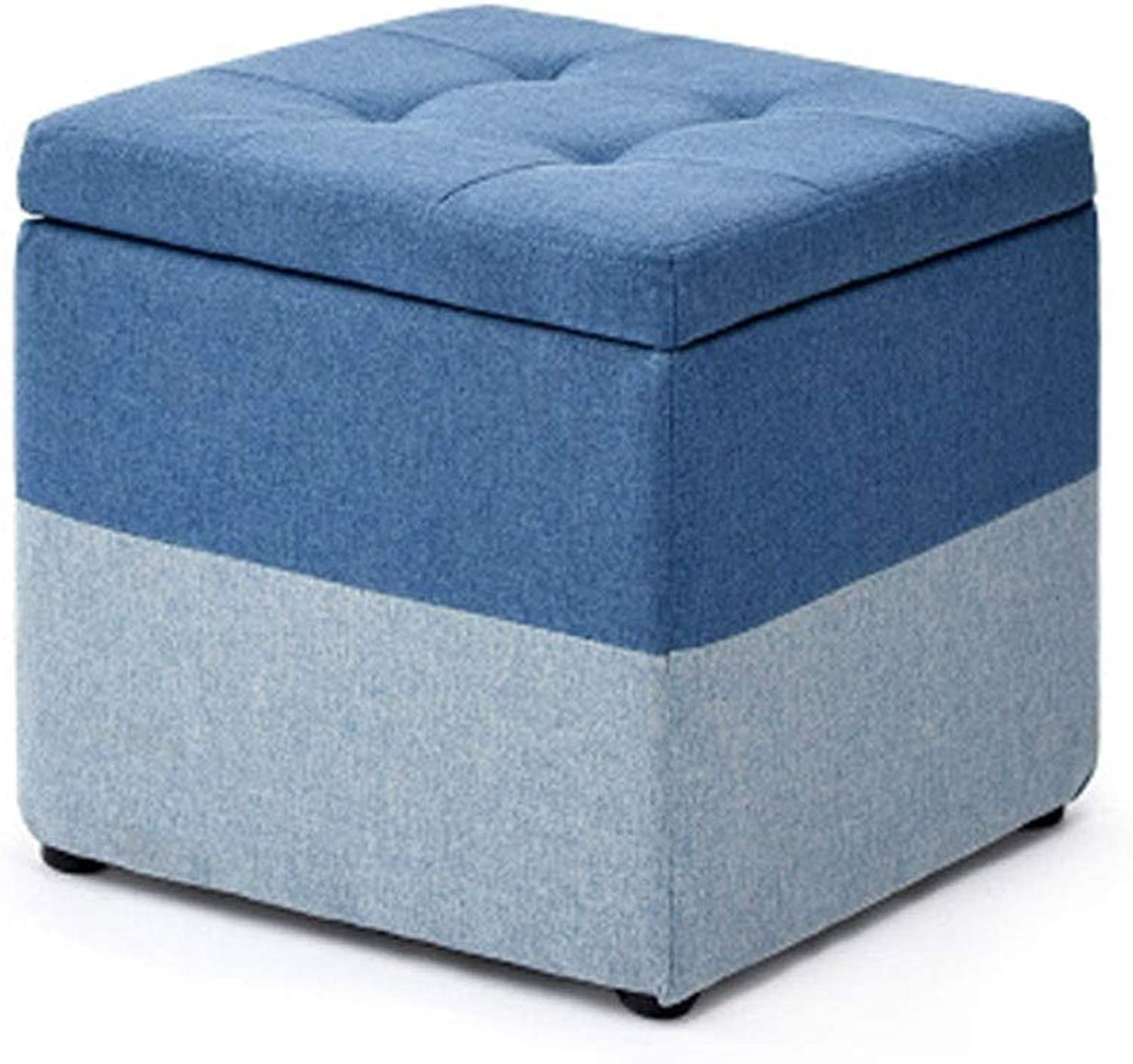 WENJUN Small Stool Footstool, Home Creative Storage Storage Stool Fabric Sofa Square Stool 40  40  40cm 2 colors (color   bluee)