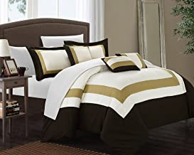 Chic Home Duke 10 Piece Comforter Set Complete Bed in a Bag Pieced Color Block Patterned Bedding with Sheet Set And Decora...