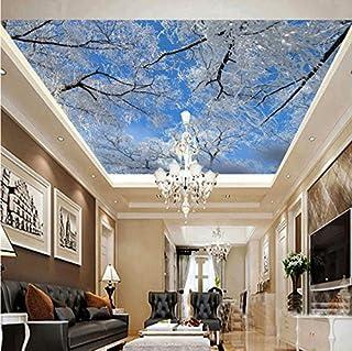 Weaeo Custom 3D Photo Wall Paper Hd Invierno Cielo Hielo Árbol De Nieve Paisaje De Fondo Papel Tapiz Sala De Estar Ceiling 3D Mural Wallpaper-400X280Cm