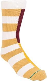 Stance Split Check Crew Socks in Natural