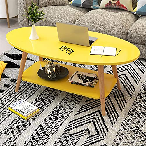 Pc-HXG Tavolino da caffè Ovale Giallo,Tavoli da Divano Ovali da Fattoria Moderna in Legno a 2 Livelli,Tavolo con Accento Rustico di metà Secolo,Mobili da Soggiorno per La Casa,Giallo