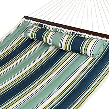 Best Choice Products Quilted Double Hammock w/ Detachable Pillow, Spreader Bar - Navy Blue and Teal Stripe