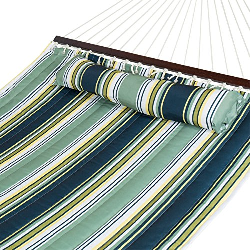 Best Choice Products Quilted Double Hammock w/Detachable Pillow, Spreader Bar - Blue and White Stripe