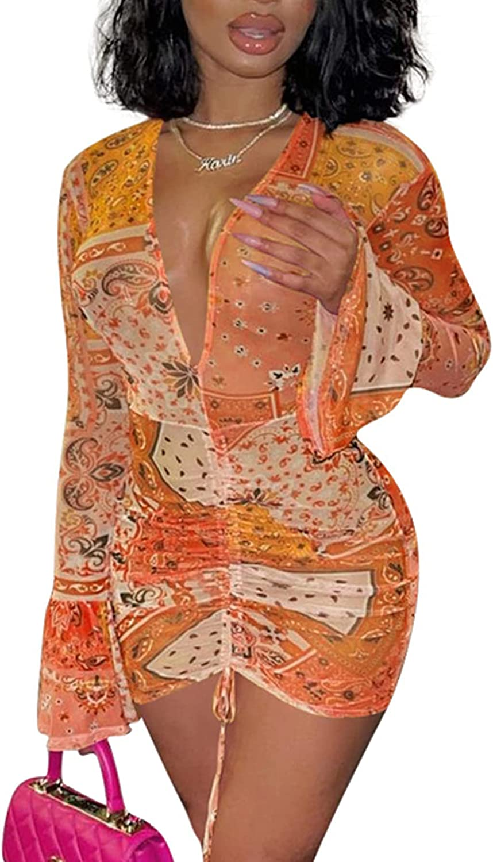 SAMACHICA Women's Sexy See Max 86% OFF Through Printed Dress Mesh Sheer Mini Time sale