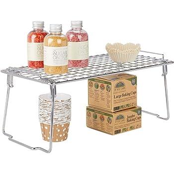 color bronce Repisa met/álica de cocina con patas plegables conservas y especias Moderno organizador de armarios para vajilla mDesign Juego de 2 estantes apilables para almacenaje de cocina