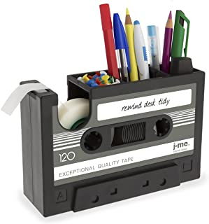 Cassette Tape Dispenser Pen Holder Vase Pencil Pot Stationery Desk Tidy Container Office Stationery Supplier Gift (Black)