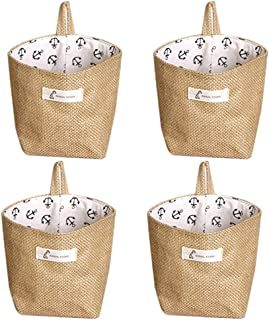 Lino y algodón bolsa de almacenamiento cesta plegable bolsa