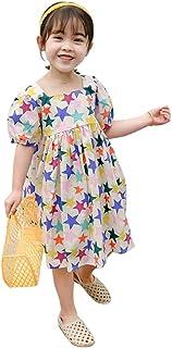 MODNTOGA Toddler Baby Girls Summer Dress Short Sleeve Star Print Princess Party Dress Summer Clothes Outfits