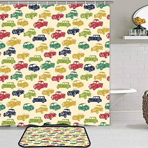christmas bathroom sets with shower curtain and rugs and accessories Cars,Various Vehicles with Curved Edges Vintage Car Designs from Fifties,Dark Blue Red Fern Green for Boys Girls Kids Baby College