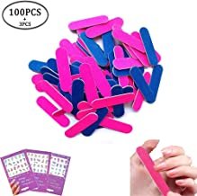 100 Pack Disposable Nail Files Double Sided Emery Boards Grit 100/240 Mini Nail File Manicure Tools,3 Sheet Nail Art Stickers Flower