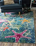 Unique Loom Positano Collection Coastal Modern Bright Colors Starfish Runner Rug_CAP001, 5' 0 x 8' 0, Navy Blue/Teal