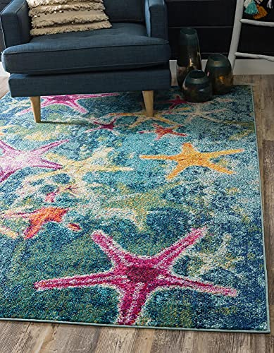 Unique Loom Positano Collection Coastal Modern Bright Colors Starfish Runner Rug_CAP001, 8' 0 x 10' 0, Navy Blue/Teal