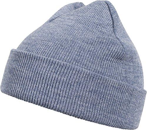 MSTRDS Unisex Strickmütze Basic Flap Beanie - einfarbige, neutrale Wintermütze für Damen und Herren ohne Druck und Stick, ohne Logo - Farbe h.indigo, Größe one size