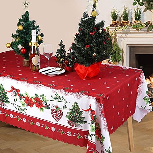 Navidad Mantele Mantel de Navidad Manteles Navideños Rectangular Cubierta de Lesa Lavable Resistente a las Manchas para Navidad Decraión de año Nuevo Fiesta de Navidad Decoración del Hogar