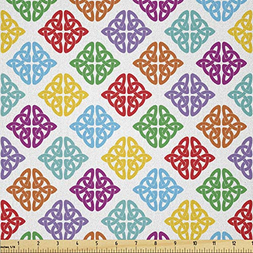 Lunarable Celtic Knot Fabric by The Yard, Colorful Antique European Ornate Design Mythological with Curved Lines, Microfiber Fabric for Arts and Crafts Textiles & Decor, 1 Yard, Multicolor