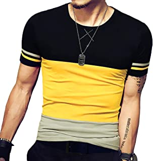 LOGEEYAR Mens Slim Fitted Short/Long-Sleeve Tee Shirts Cotton Contrast Color Stitching T-Shirt Fashion Top