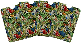 Tropical Birds Parrot Macaw Toucan Pattern Credit Card RFID Blocker Holder Protector Wallet Purse Sleeves Set of 4