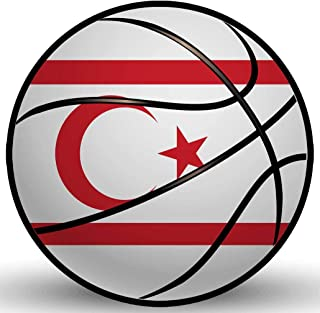 Makoroni - TURKISH REPUBLIC OF NORTHERN CYPRUS Basketball Shape Country Flag National Team Sticker Car Laptop Wall Decal 4'x4'(Small) or 6'x6'(Large)