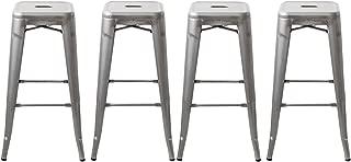 Buschman 30 Inch Galvanized Metal Bar Stools, Set of 4, Indoor/Outdoor, Stackable