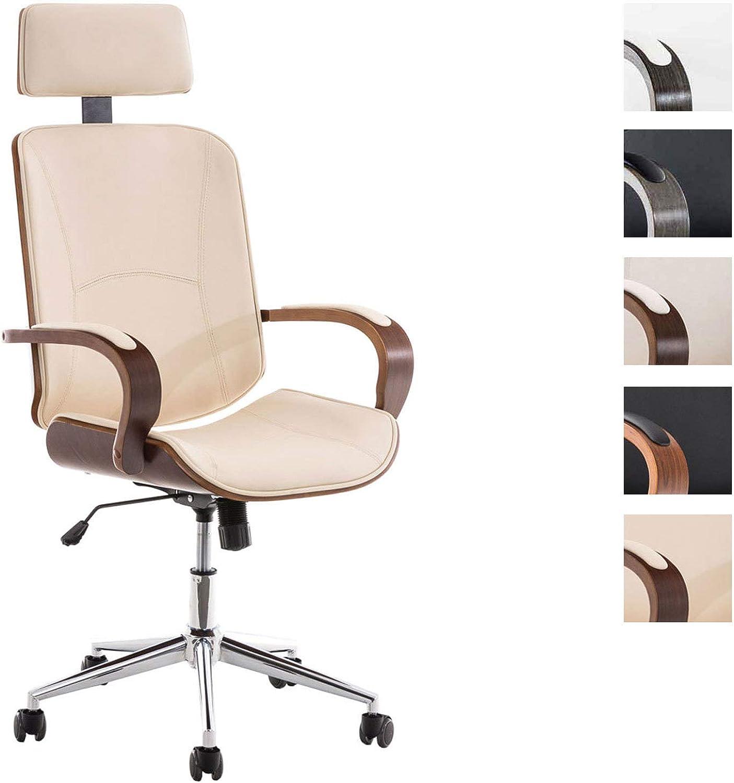 CLP Chefsessel Dayton mit Kunstlederbezug I Bürostuhl mit Kopfstütze und Leichtlaufrollen I Hhenverstellbarer Schreibtischstuhl walnuss Creme