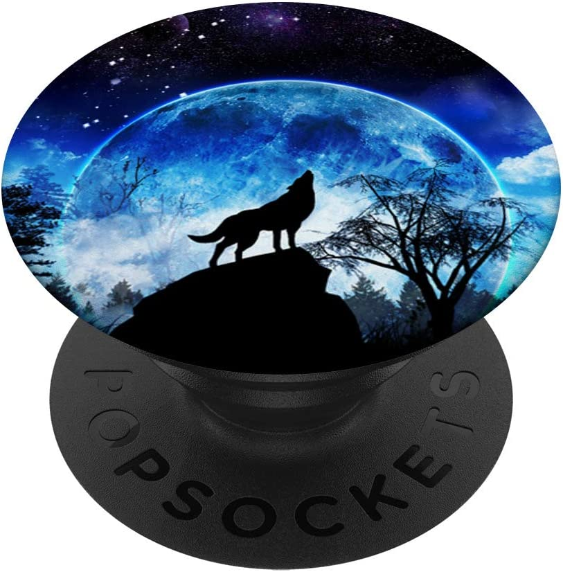 Swappable Grip for Phones /& Tablets Wolf Howling in the Moonlight Blue Sky Gifts for Wolf Lover PopSockets PopGrip