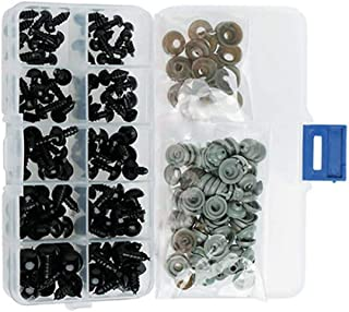 Dainerisy 100pcs 6-12mm Black Plastic Crafts Safety Eyes Stuffed Toys Snap Animal Scrapbooking Puppet Dolls DIY Accessories