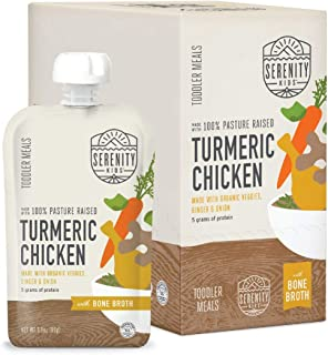 Sponsored Ad - Serenity Kids Toddler Purees, Free Range Turmeric Chicken with Bone Broth, For 6+ Months, 3.5 Ounce Pouch (...